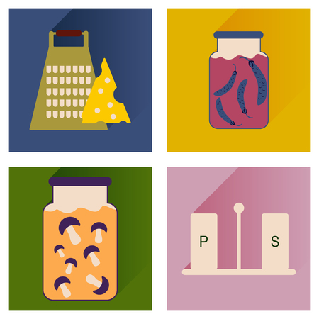 homemade: Vector set flat icons with long shadow homemade food Illustration