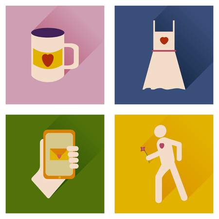 hands fire passion: Set of flat icons with long shadow love icons