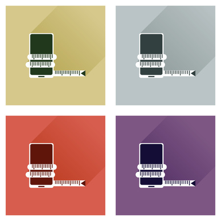 infographics touchscreen: Concept of flat icons with long shadow mobile diet