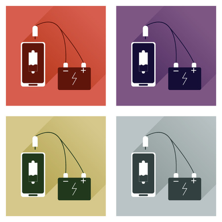 telephone cord: Concept of flat icons with long shadow mobile charging