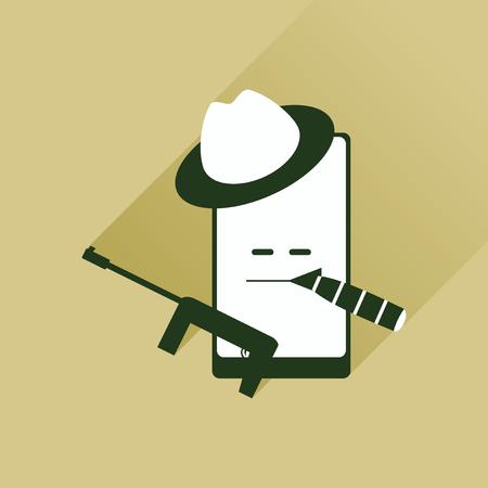 bandit: Flat web icon with long shadow mobile bandit Illustration