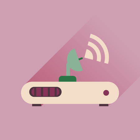 hub computer: Flat icon with long shadow  Wi fi modem Illustration