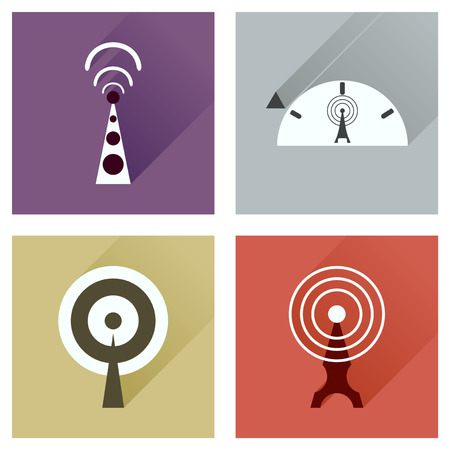wi: Concept of flat icons with long shadow   Wi fi modem Illustration