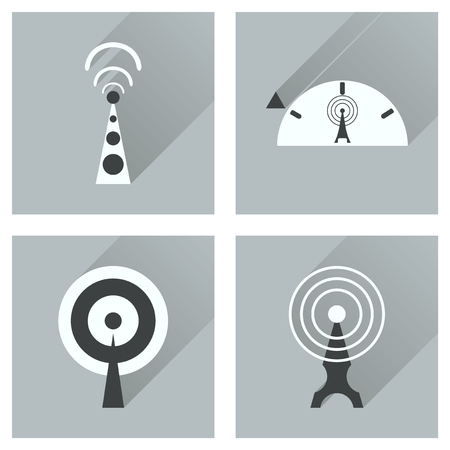 wi fi: Concept of flat icons with long shadow   Wi fi modem Illustration