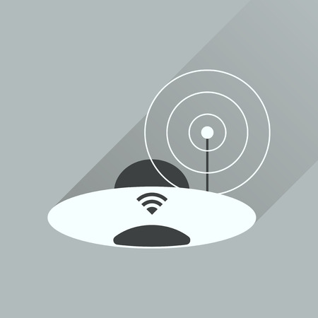 modem: Flat icon with long shadow  Wi fi modem Illustration