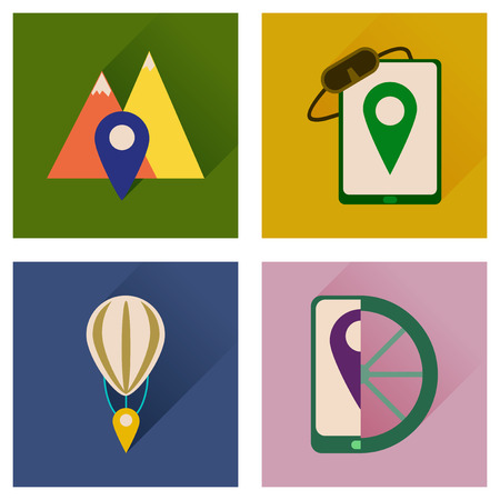 geolocation: Concept of flat icons with long shadow  mobile navigation