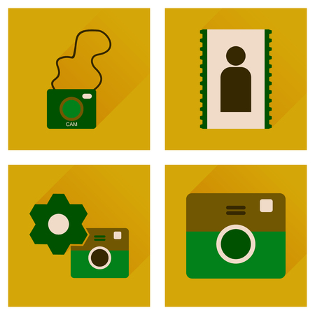 design media love: Concept of flat icons with long shadow  Cameras
