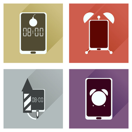 face off: Concept of flat icons with long shadow  Mobile Phone Service