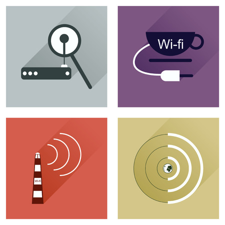 electrical tower: Concept of flat icons with long shadow  Wi-Fi