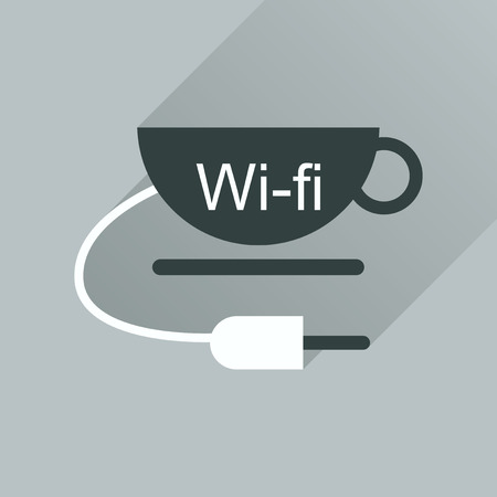 wi: Flat icon with long shadow  Wi fi Cup