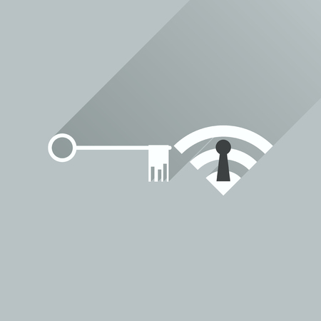 hot wife: Flat icon with long shadow  Key Wi fi Illustration