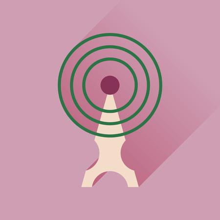 wi: Flat icon with long shadow   Wi fi modem