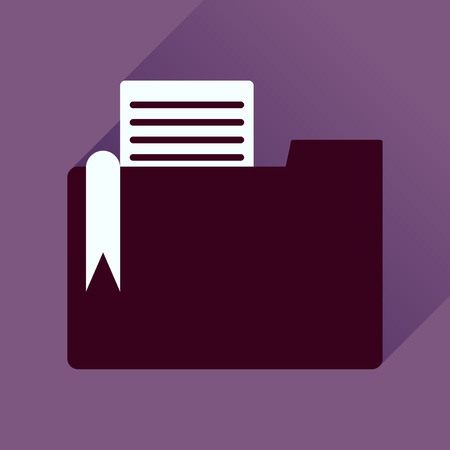 reveal: Flat icon with long shadow  folder documents
