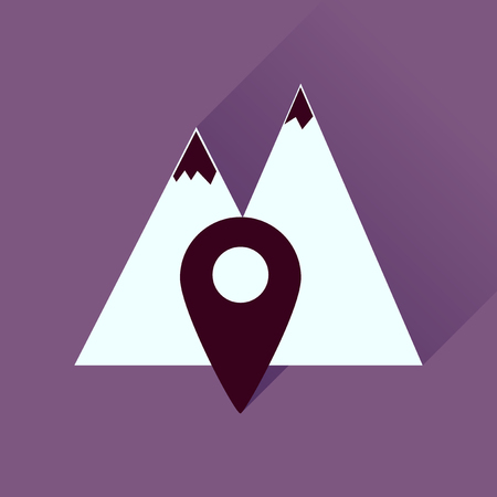 rocky road: Flat icon with long shadow  mountain location