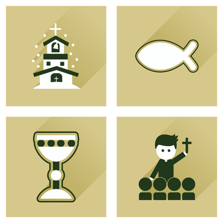 evangelical: Concept of flat icons with long shadow Christianity Illustration
