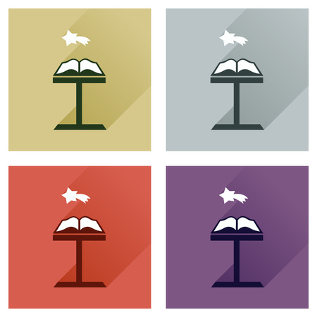 devout: Concept of flat icons with long shadow holy bible