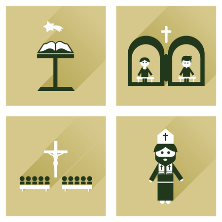pontiff: Concept of flat icons with long shadow Christianity Illustration