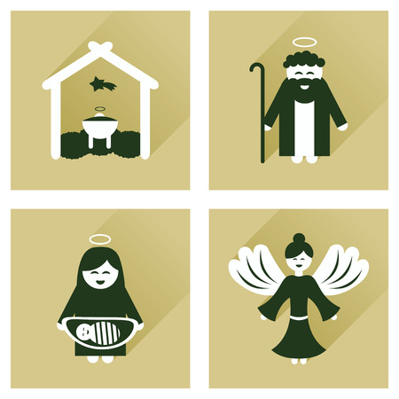 long night: Concept of flat icons with long shadow Christmas night Illustration