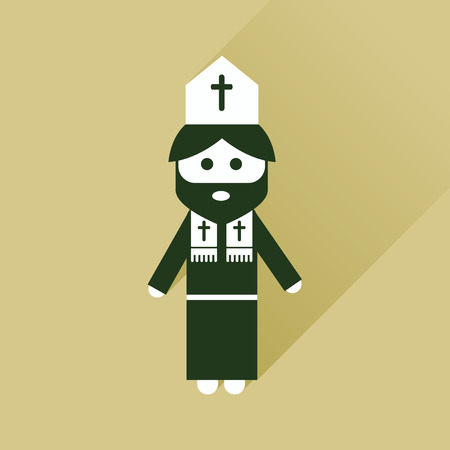 catholicism: Flat icon with long shadow Christian priest