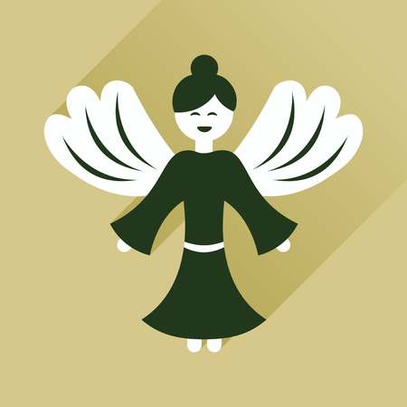 children of heaven: Flat icon with long shadow Christmas angel