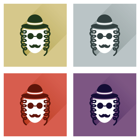 the righteous: Concept of flat icons with long shadow Jewish man Illustration