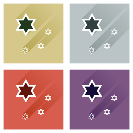estrella de david: Concept of flat icons with long shadow Star David