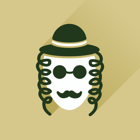 estereotipo: icono plana con hombre jud�o larga sombra