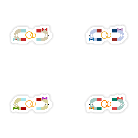 magnets: Set of paper stickers on white background romantic magnets Illustration