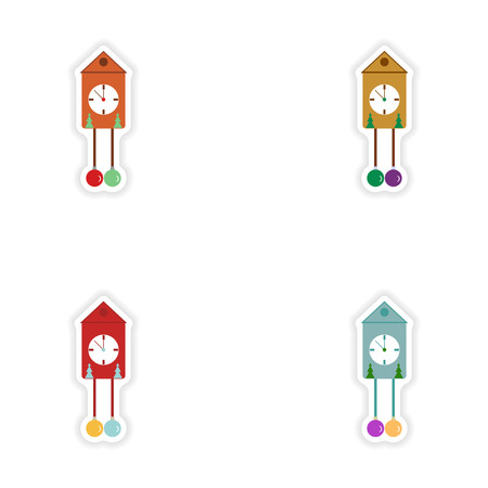 watch new year: Set of paper stickers on white background Christmas clock