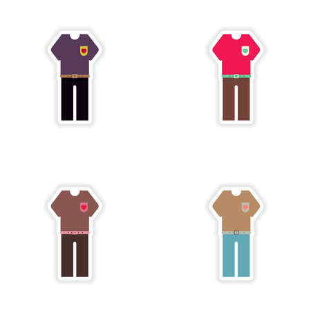trousers: Set of paper stickers on white background trousers and T-shirt