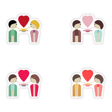 pareja comiendo: Conjunto de pegatinas de papel en el fondo blanco amantes de la alimentación