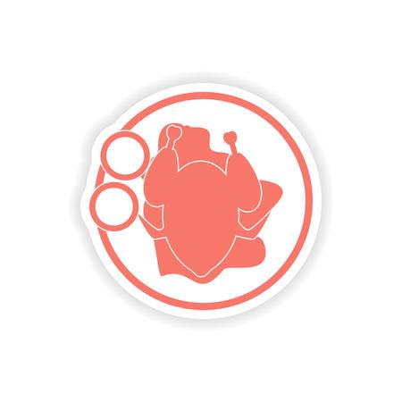 chicken dish: paper sticker on white background   chicken dish