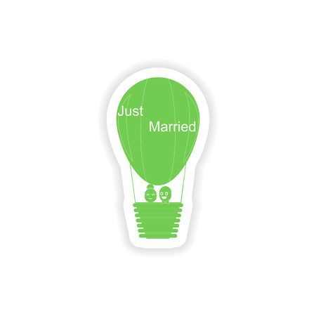hot couple: paper sticker on white background air balloon groom bride