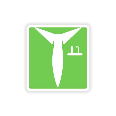 shirt and tie: paper sticker on white background  shirt tie Illustration