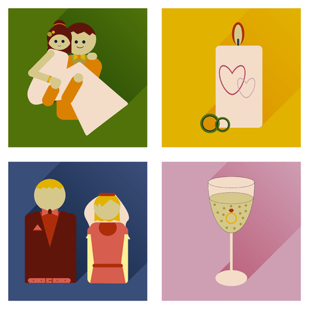 diamond candle: Set of flat icons with long shadow wedding