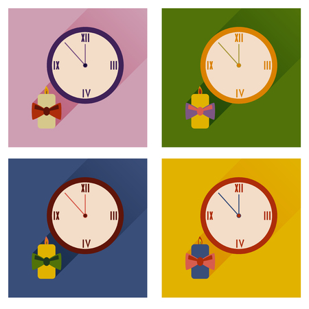 watch new year: Set of flat icons with shadow Christmas candle and watch