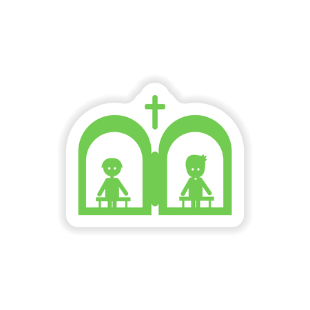 confess: paper sticker on white background  Christian confessions