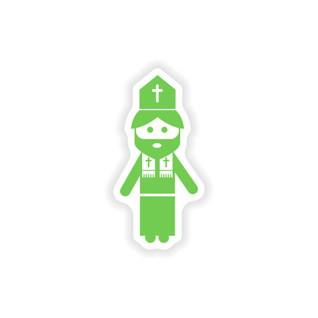 chastity: paper sticker on white background  Christian priest Illustration