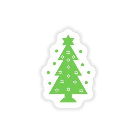 chanukkah: paper sticker on white background  Hanukkah tree Illustration