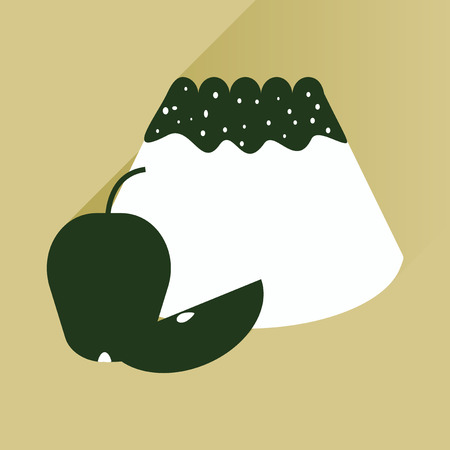 fruitcakes: Flat with shadow Icon bun apple on bright background