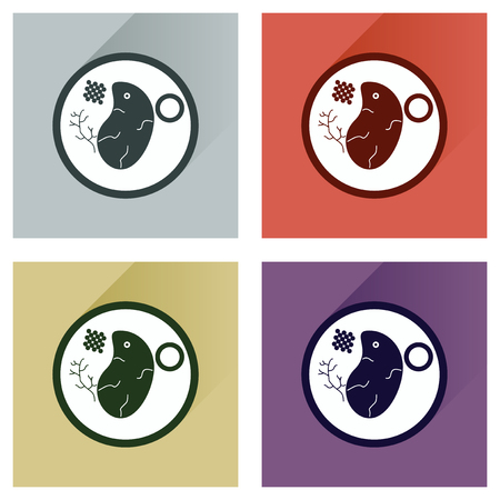 steak plate: Modern flat icons vector collection with shadow steak on plate