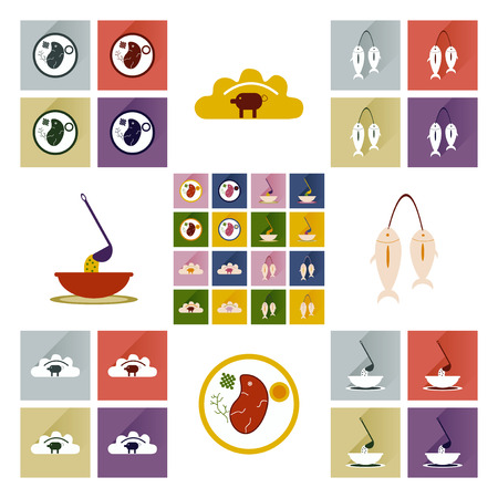 herring: Modern flat icons vector collection with shadow Ukrainian cuisine