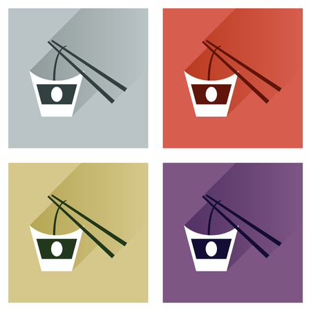 chinese food container: Modern flat icons vector collection with shadow Chinese noodles sticks