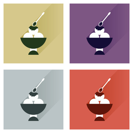 sweet sauce: Modern flat icons vector collection with shadow balls ice cream Illustration