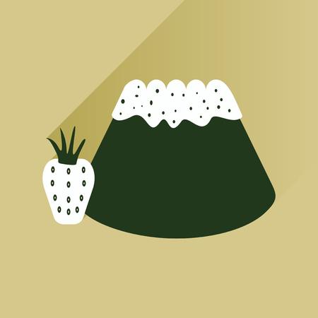 corn poppy: Flat with shadow Icon Bun strawberries on bright background