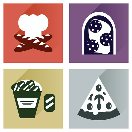 calories poor: Vector set flat icons with long shadow junk food