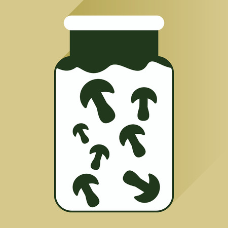 mycology: flat icon with long shadow pickled mushrooms Illustration