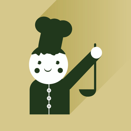 ladle: flat icon with long shadow cook with ladle Illustration