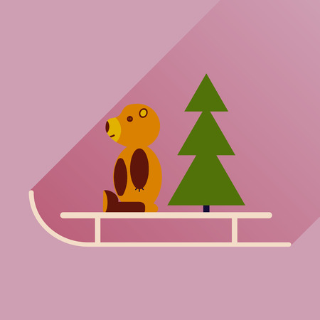 sled: flat icon with long shadow sled bear
