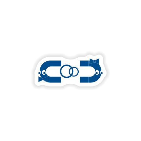 magnets: paper sticker on white background  love magnets Illustration